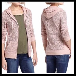 Anthro Eloise Pink Jacquard Lace Hoodie